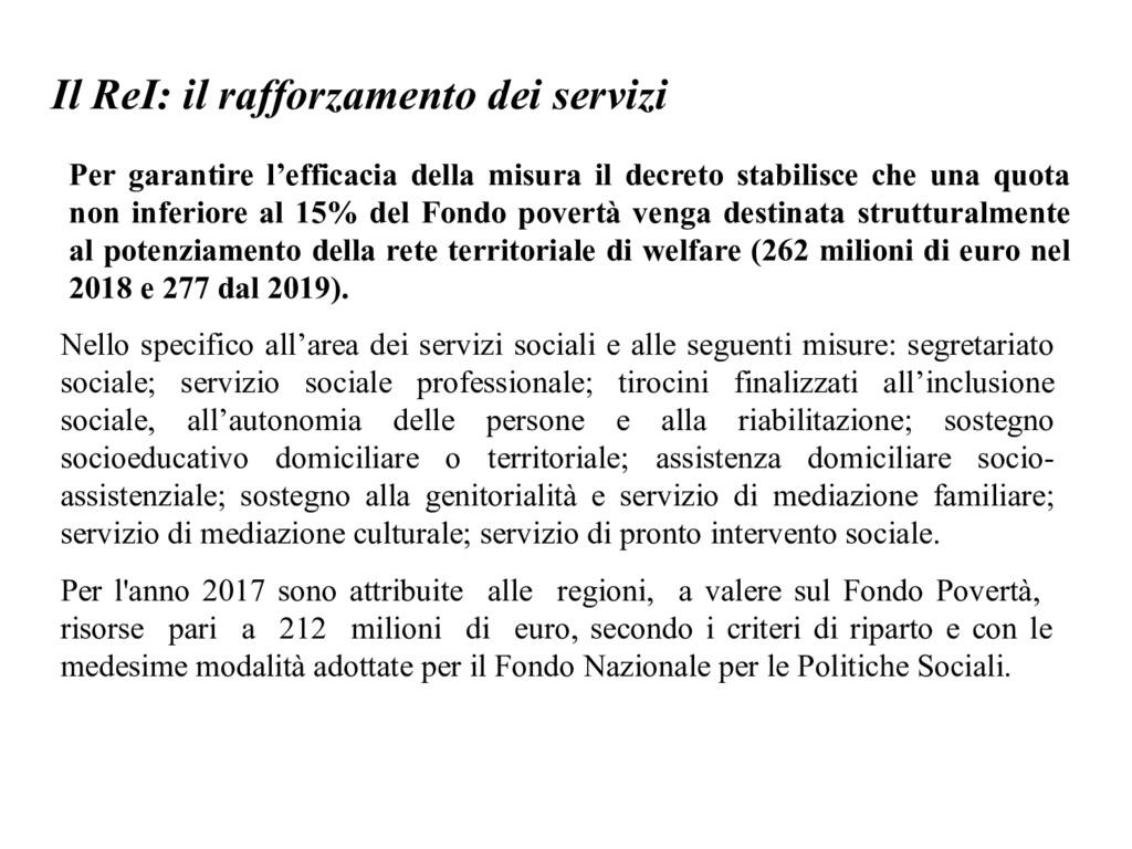 Il ReI: il rafforzamento dei servizi Per garant...