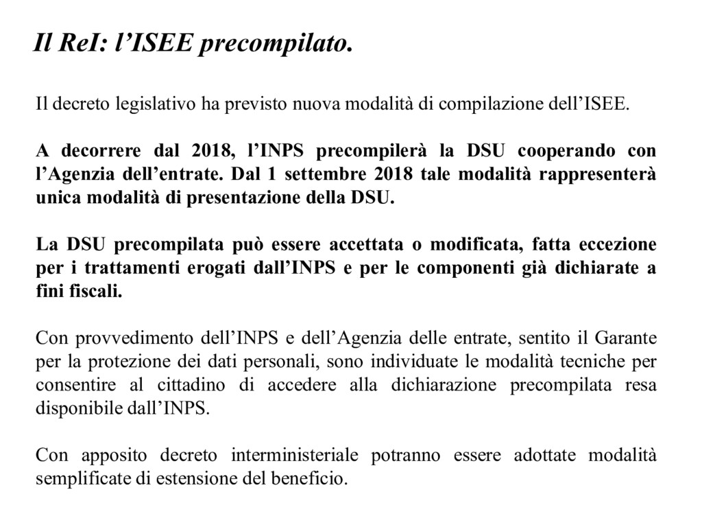 Il ReI: l'ISEE precompilato. Il decreto legisla...