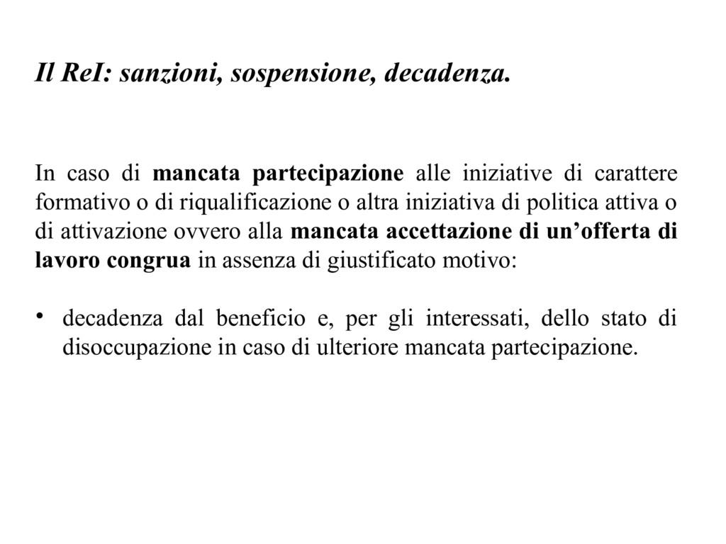 Il ReI: sanzioni, sospensione, decadenza. In ca...