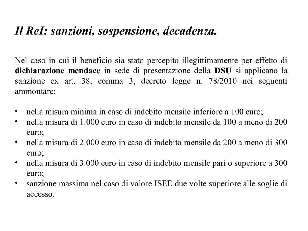 Il ReI: sanzioni, sospensione, decadenza. Nel c...