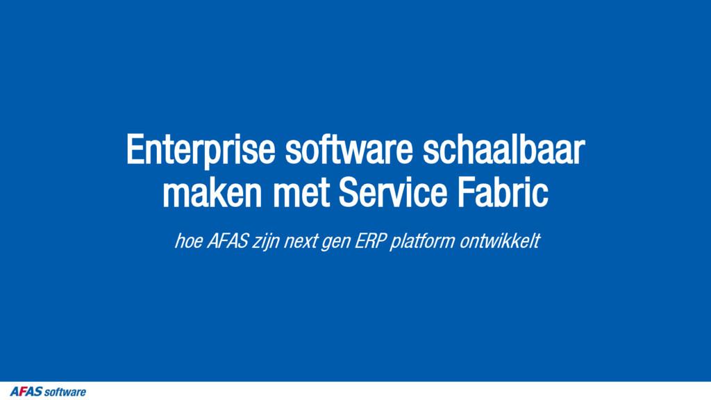 Enterprise software schaalbaar maken met Servic...