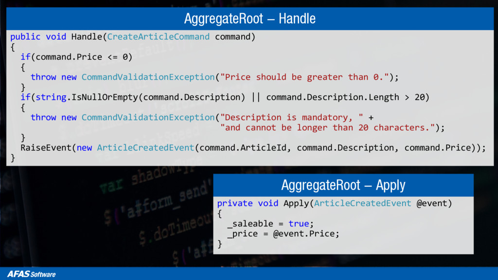 AggregateRoot - Handle public void Handle(Creat...