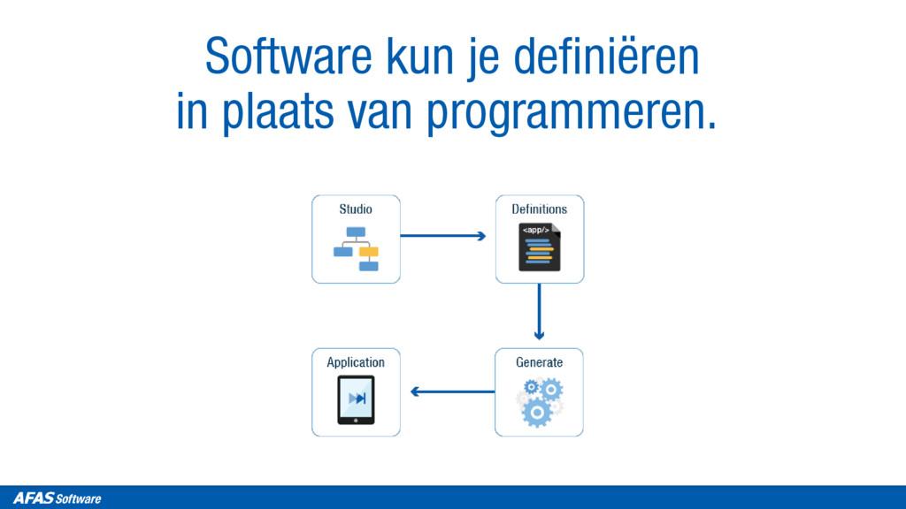 Software kun je definiëren in plaats van progra...
