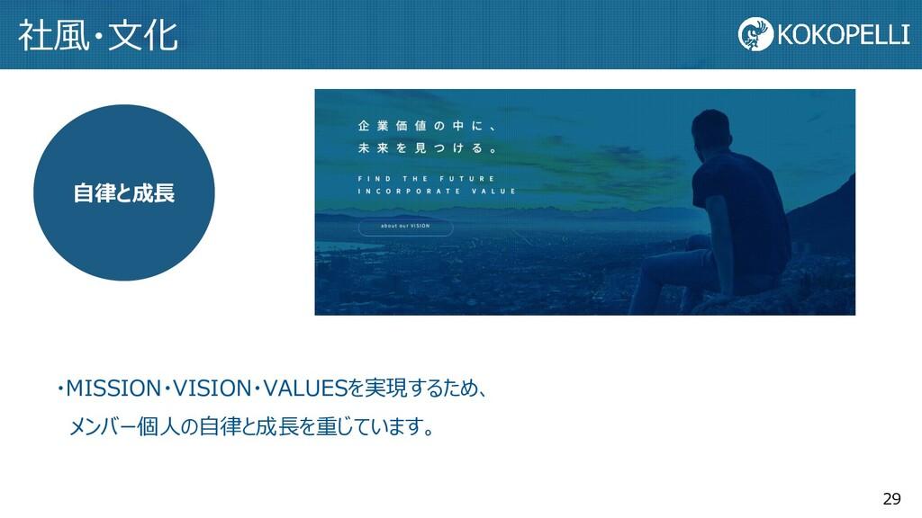 29 自律と成長 ・MISSION・VISION・VALUESを実現するため、 メンバー個人の...
