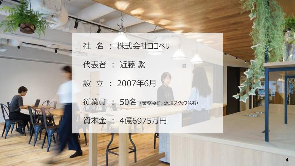 4 社 名 : 株式会社ココペリ 代表者 : 近藤 繁 設 立 : 2007年6月 従業員 :...