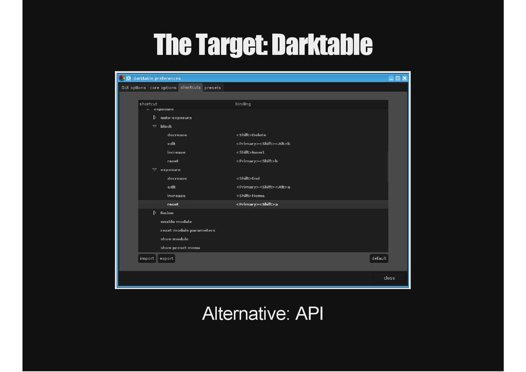 The Target: Darktable Alternative: API