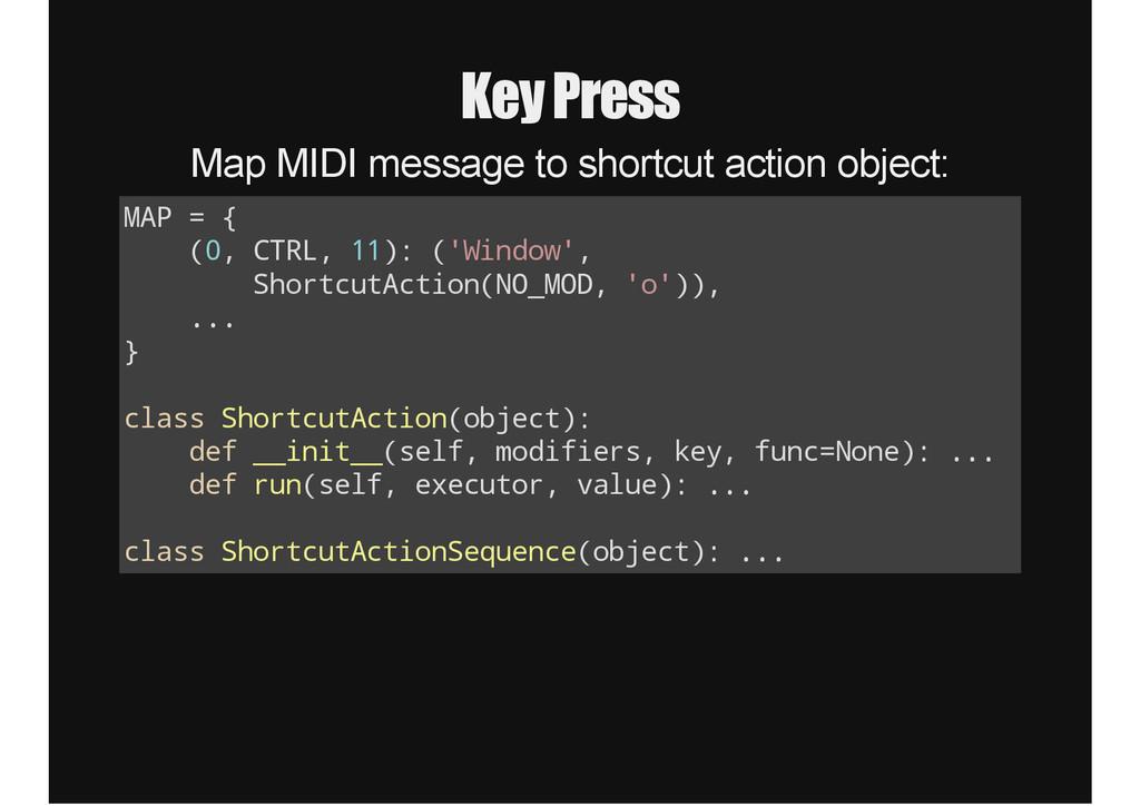 Key Press Map MIDI message to shortcut action o...
