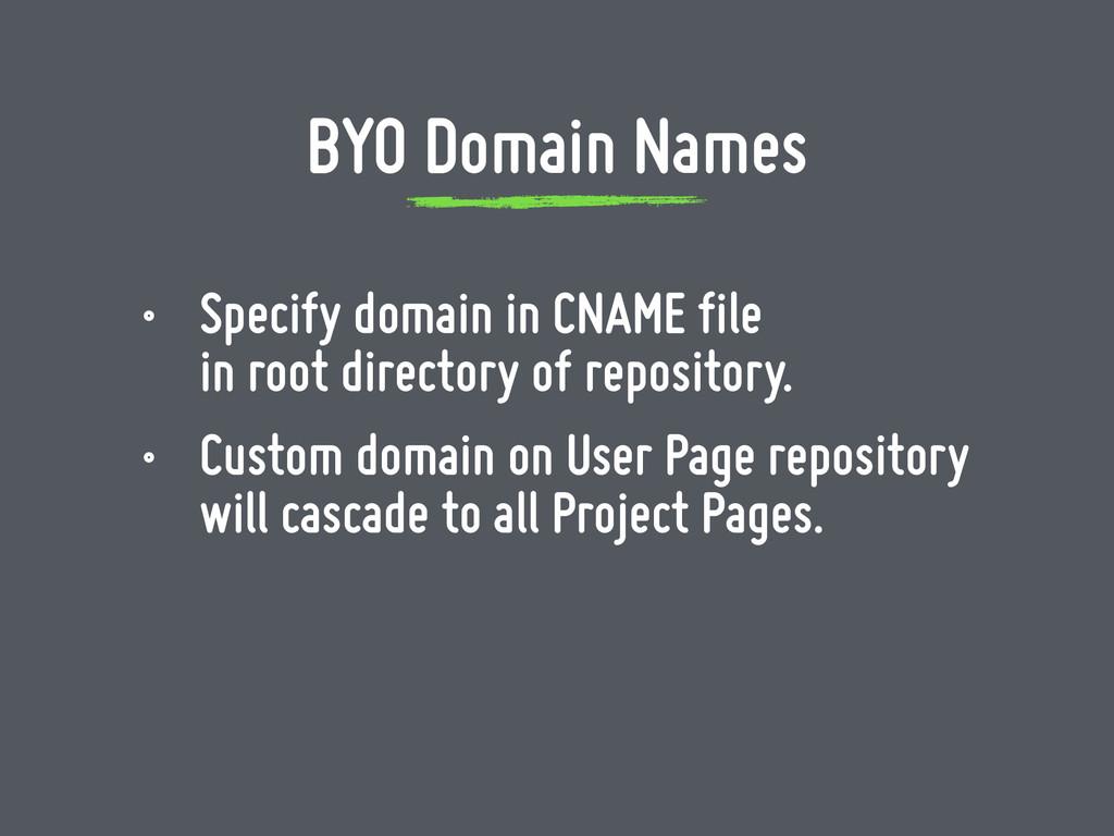 • Specify domain in CNAME file in root directo...