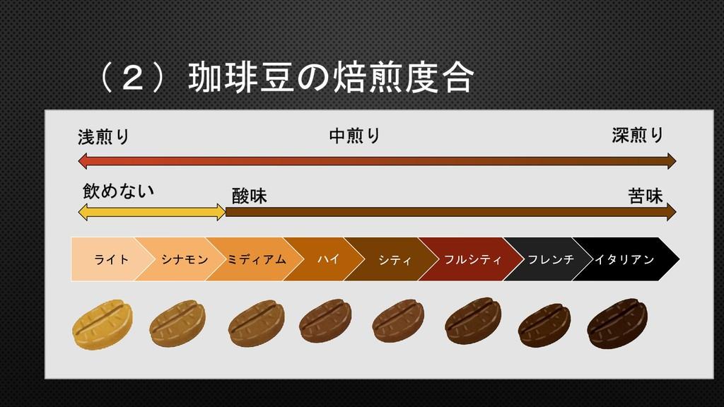 飲めない 酸味 苦味 浅煎り 深煎り 中煎り (2)珈琲豆の焙煎度合 ライト シナモン ミディ...