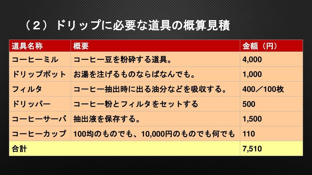 (2)ドリップに必要な道具の概算見積 道具名称 概要 金額(円) コーヒーミル コーヒー豆を粉...
