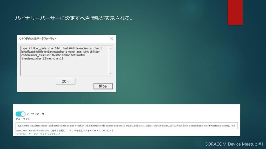 バイナリーパーサーに設定すべき情報が表示される。 SORACOM Device Meetup ...