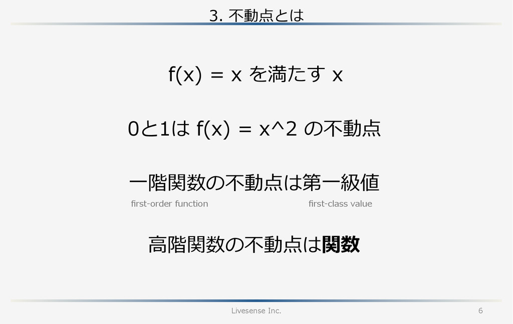 3. 不不動点とは Livesense Inc. 6 0と1は f(x) = x^2...