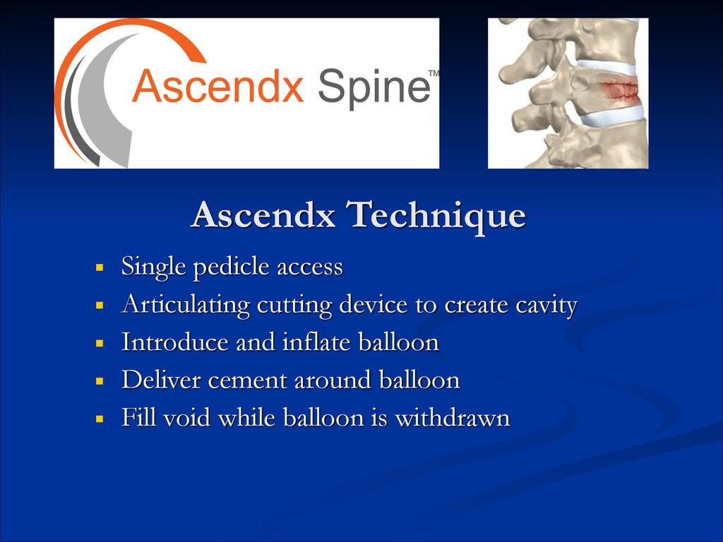 Ascendx Technique ■ Single pedicle access ■ Art...