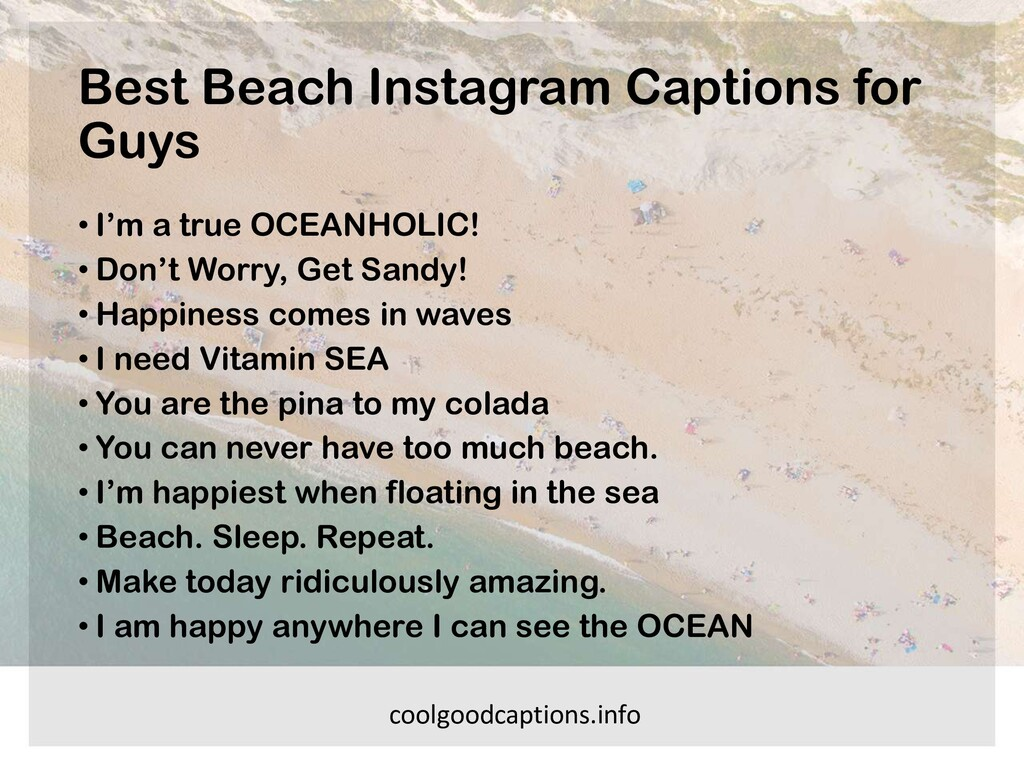 Best Beach Instagram Captions for Guys • I'm a ...