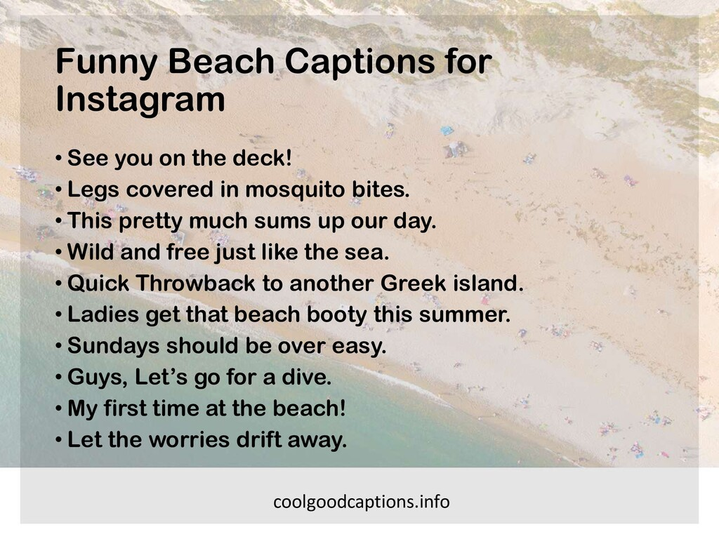 Funny Beach Captions for Instagram • See you on...