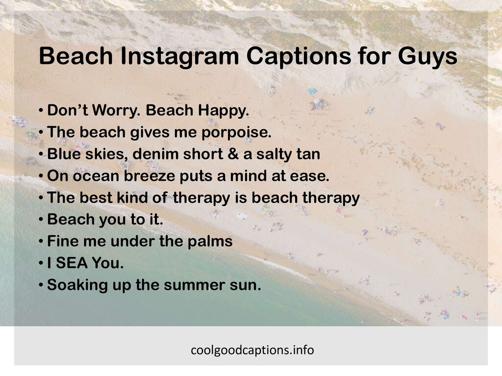 Beach Instagram Captions for Guys • Don't Worry...