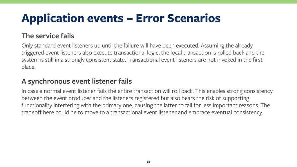 Application events – Error Scenarios The servic...