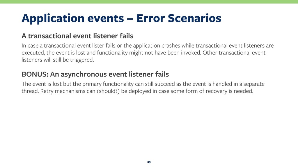 Application events – Error Scenarios A transact...