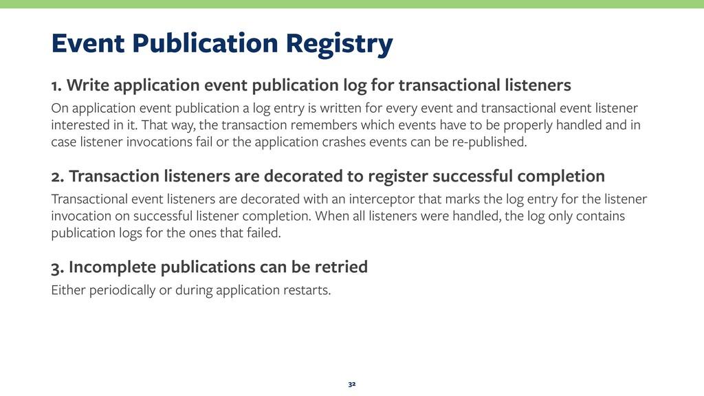 Event Publication Registry 1. Write application...
