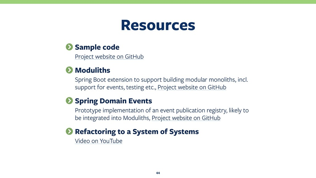 Resources 44 Sample code Project website on Git...