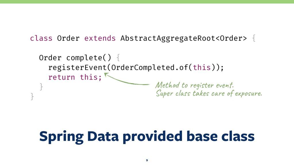 Spring Data provided base class 9 class Order e...
