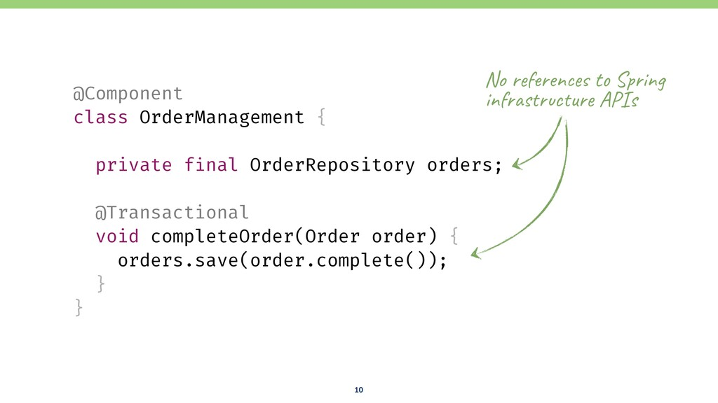 10 @Component class OrderManagement { private f...