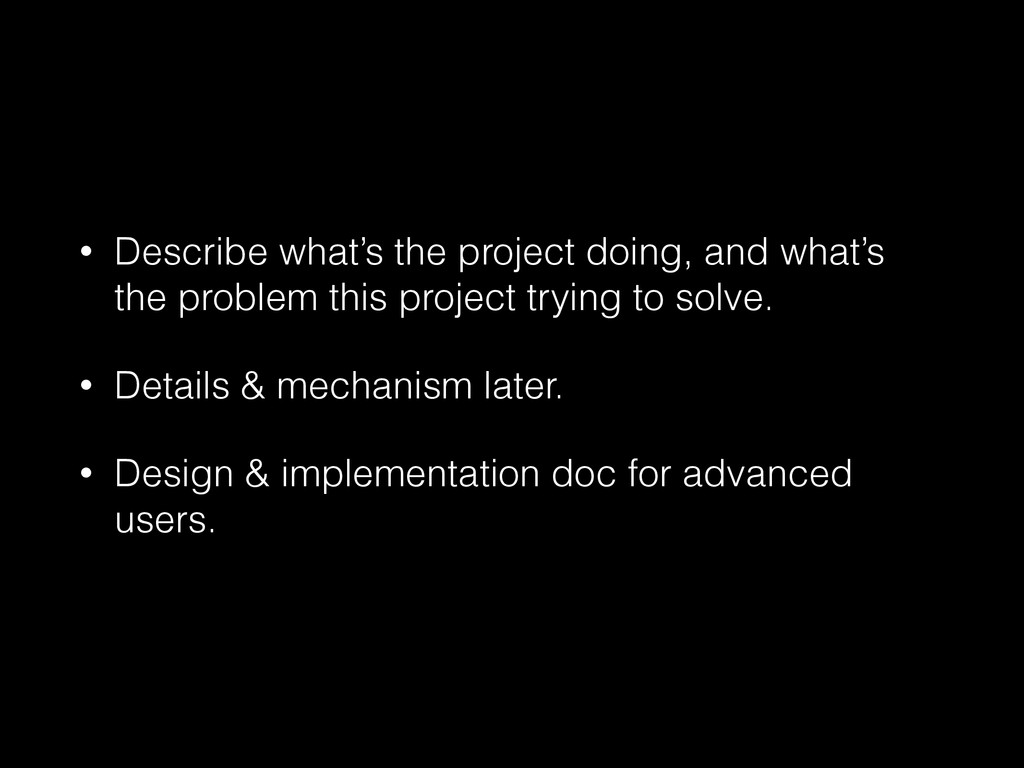 • Describe what's the project doing, and what's...