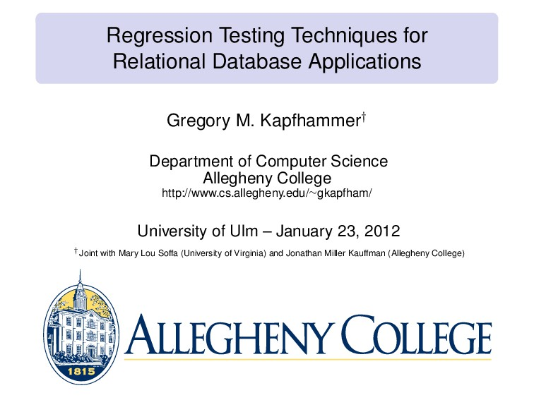 Regression Testing Techniques for Relational Da...