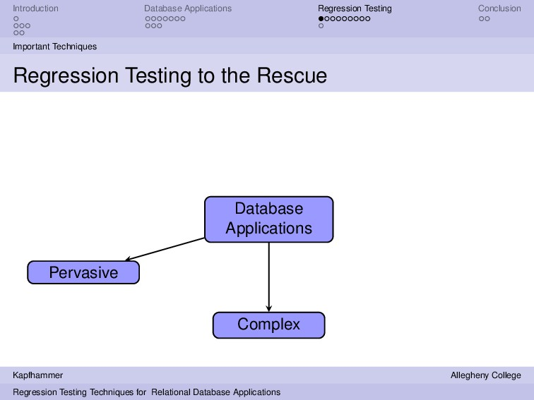 Introduction Database Applications Regression T...