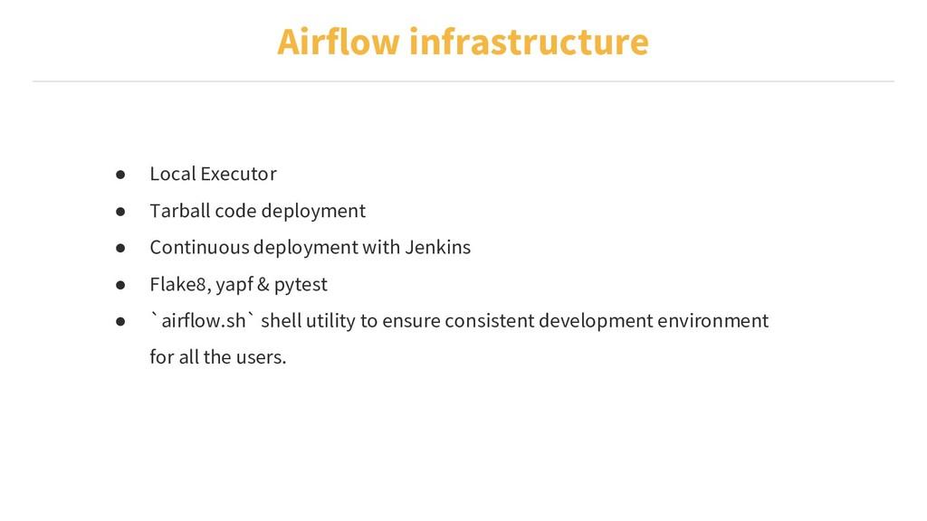 Airflow infrastructure ● Local Executor ● Tarba...