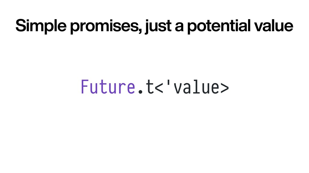 Future.t<'value> Simple promises, just a potent...