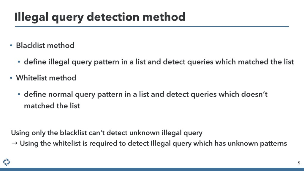 • Blacklist method • define illegal query patter...