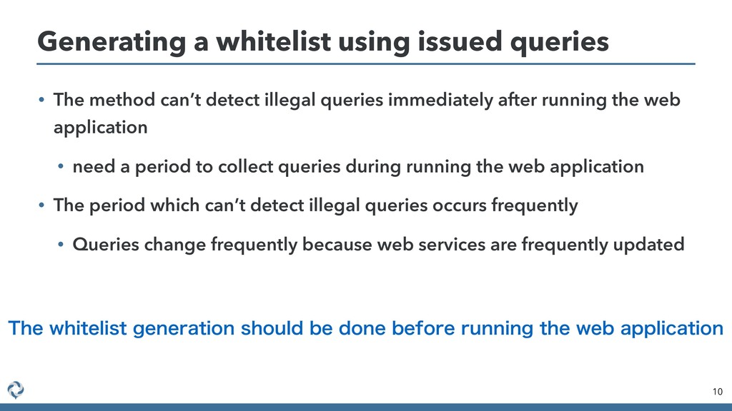 • The method can't detect illegal queries immed...