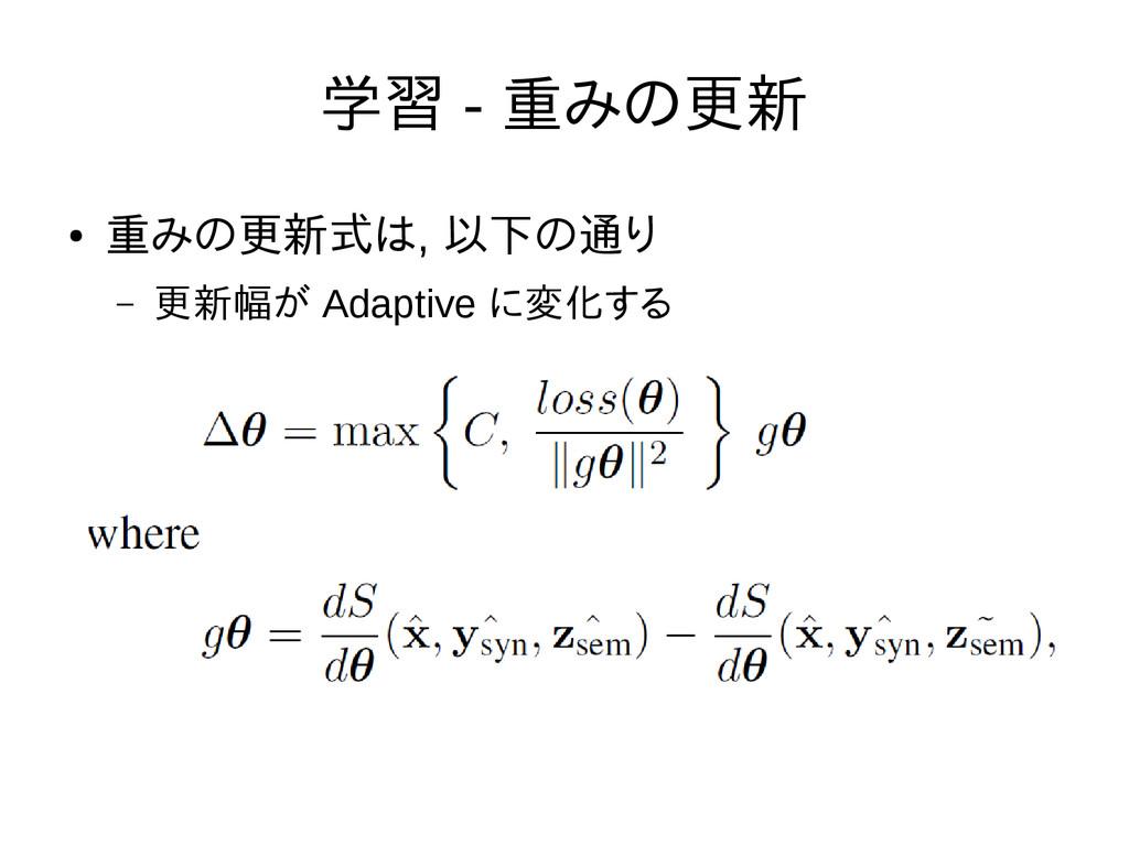 学習 - 重みの更新 ● 重みの更新式は, 以下の通り – 更新幅が Adaptive に変化...