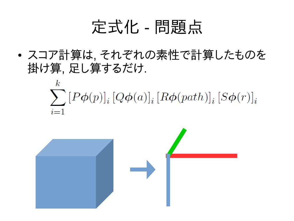 定式化 - 問題点 ● スコア計算は, それぞれの素性で計算したものを 掛け算, 足し算するだ...