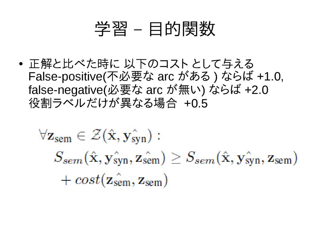 学習 – 目的関数 ● 正解と比べた時に 以下のコスト として与える False-positi...