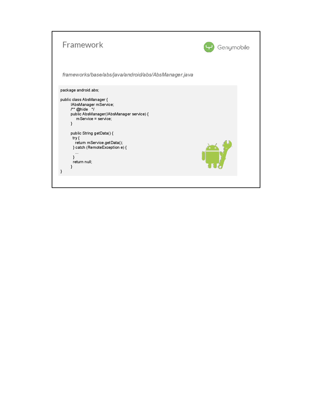 Framework package android.abs; public class Abs...