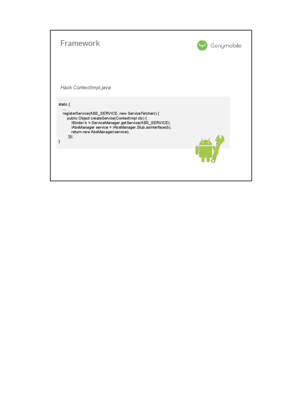 Framework static { ... registerService(ABS_SERV...