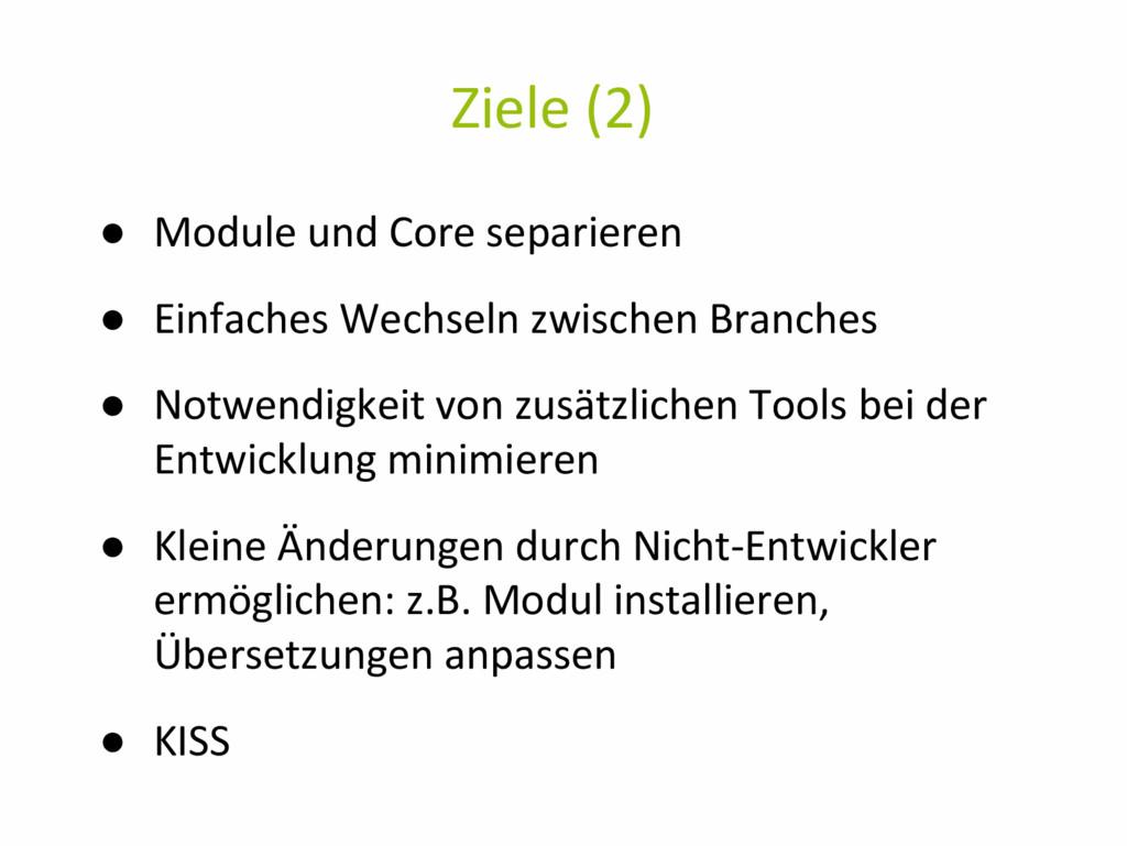 Ziele (2) ● Module und Core separieren ● Einfac...