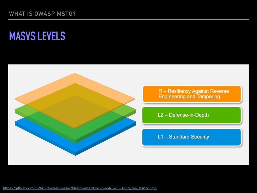 WHAT IS OWASP MSTG? MASVS LEVELS https://github...