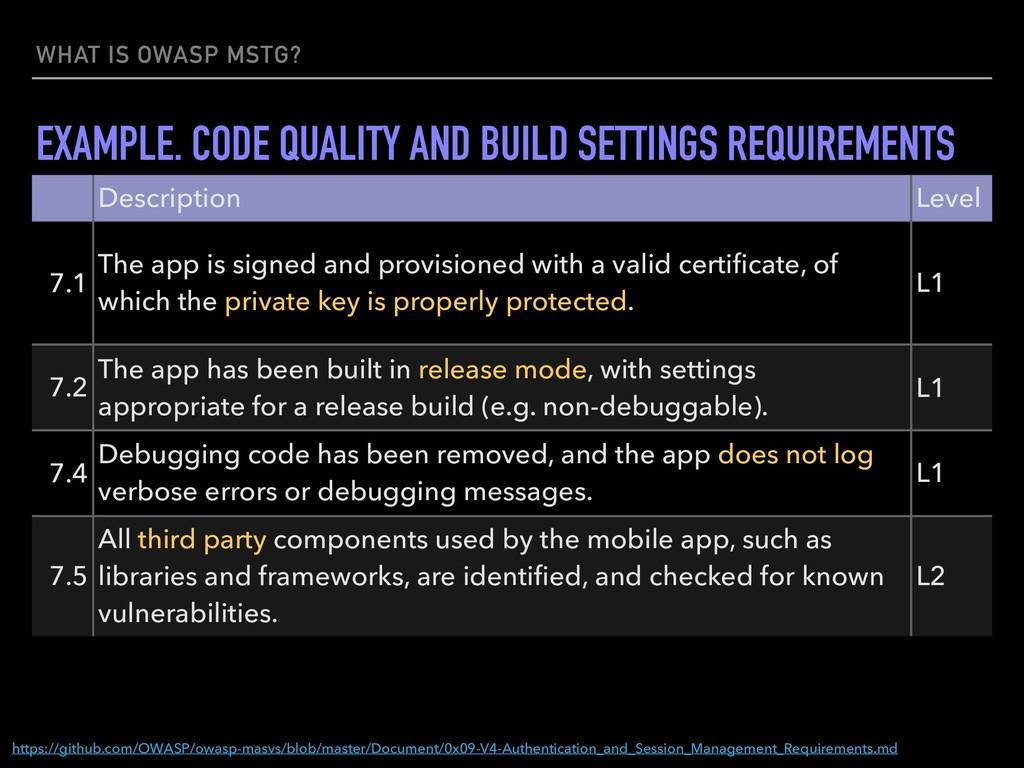 WHAT IS OWASP MSTG? https://github.com/OWASP/ow...