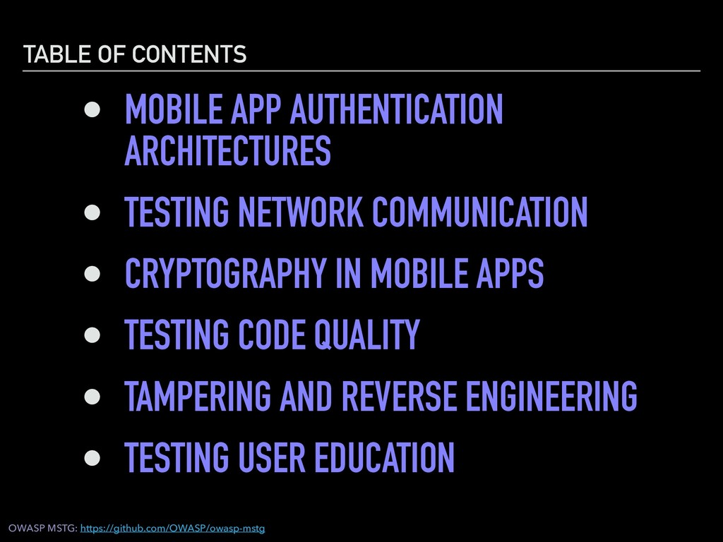 TABLE OF CONTENTS • MOBILE APP AUTHENTICATION A...
