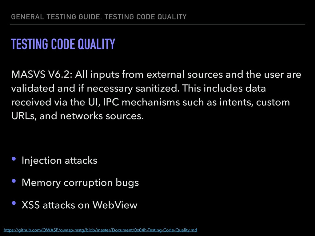 GENERAL TESTING GUIDE. TESTING CODE QUALITY TES...