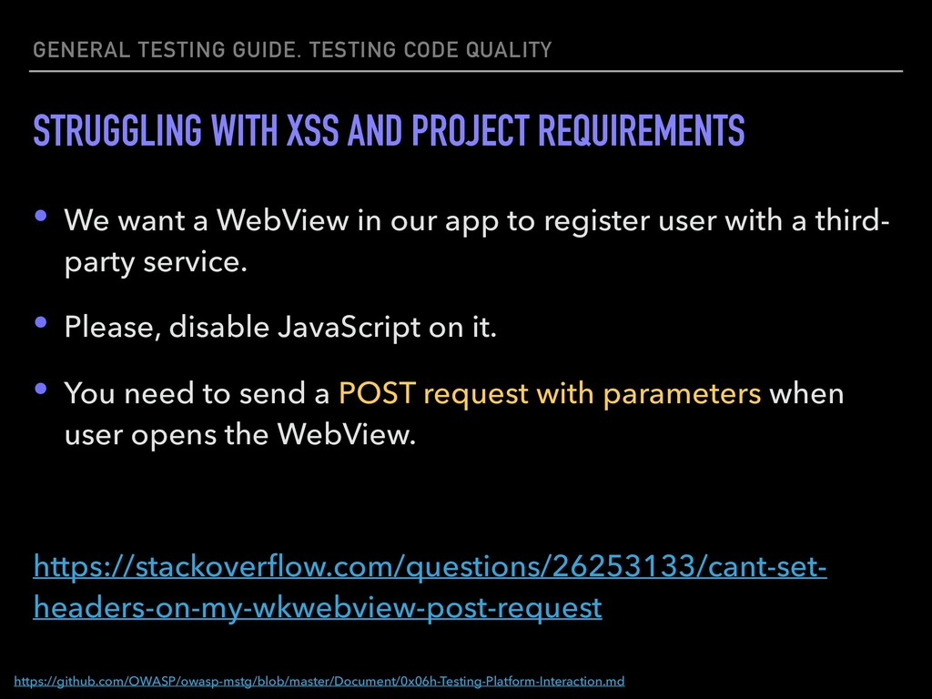 GENERAL TESTING GUIDE. TESTING CODE QUALITY STR...