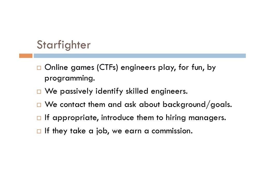 Starfighter ¨ Online games (CTFs) engineers pl...