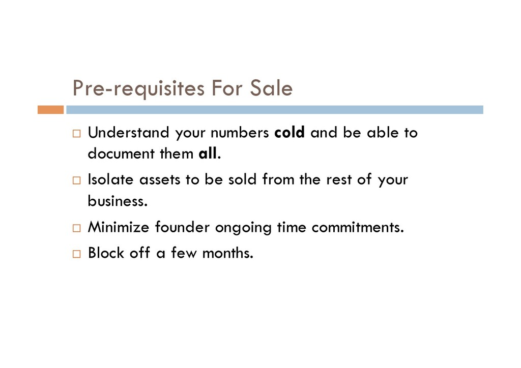 Pre-requisites For Sale ¨  Understand your numb...