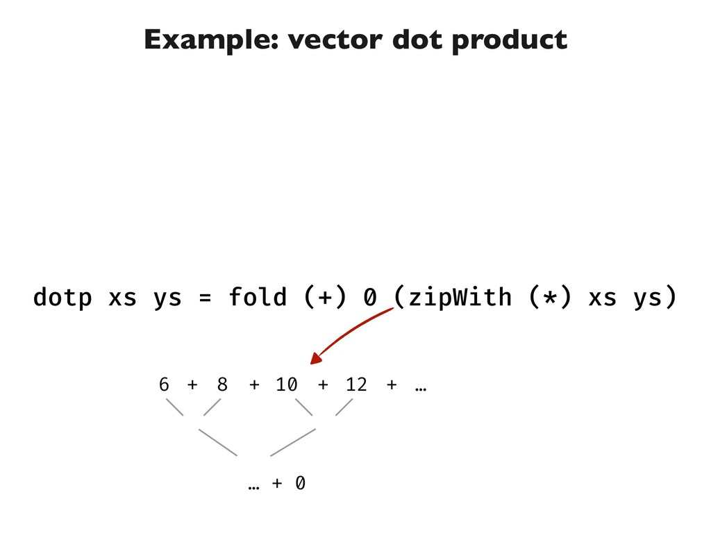Example: vector dot product dotp xs ys = fold (...