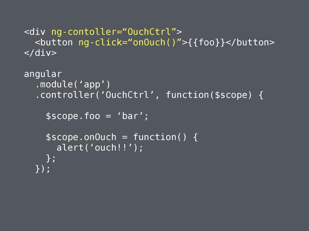 """<div ng-contoller=""""OuchCtrl""""> <button ng-click=..."""