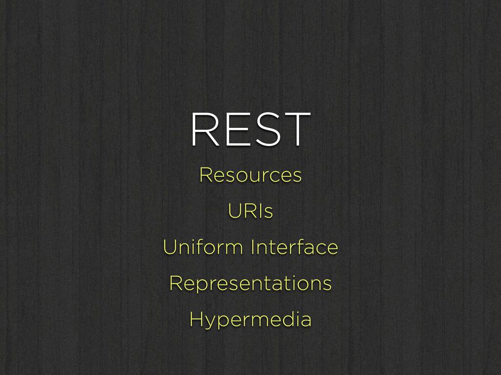 REST Resources URIs Uniform Interface Represent...