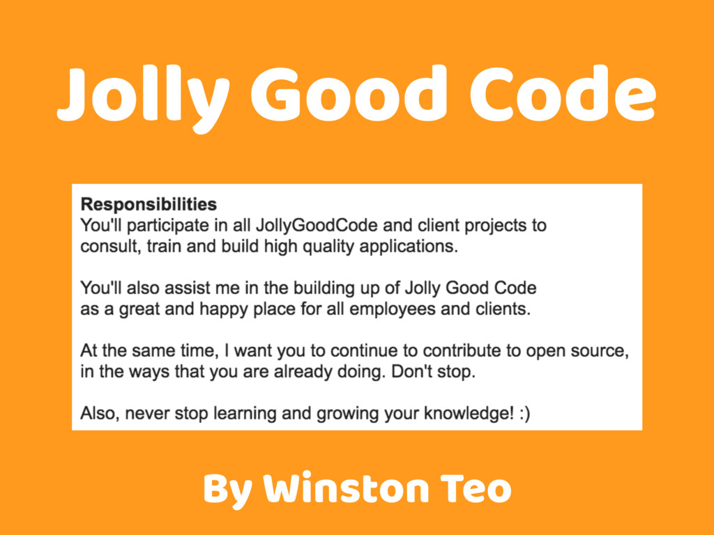 Jolly Good Code By Winston Teo
